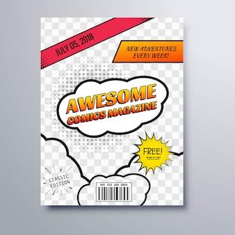 Vettore impressionante del modello di copertura della rivista del libro dei fumetti