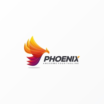 Vettore impressionante di progettazione di logo di phoenix