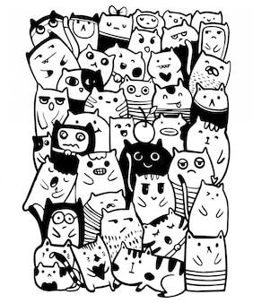 Vettore in bianco e nero di tiraggio della mano, coloritura dell'illustrazione di scarabocchi di stile dei caratteri dei gatti per i bambini.