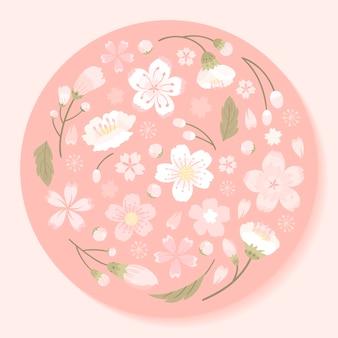 Vettore incorniciato rosa fiori di ciliegio tondo