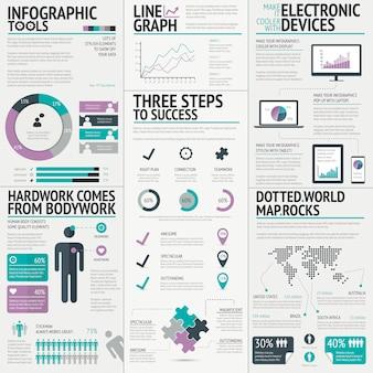 Vettore infographic di affari variopinti per una presentazione fresca