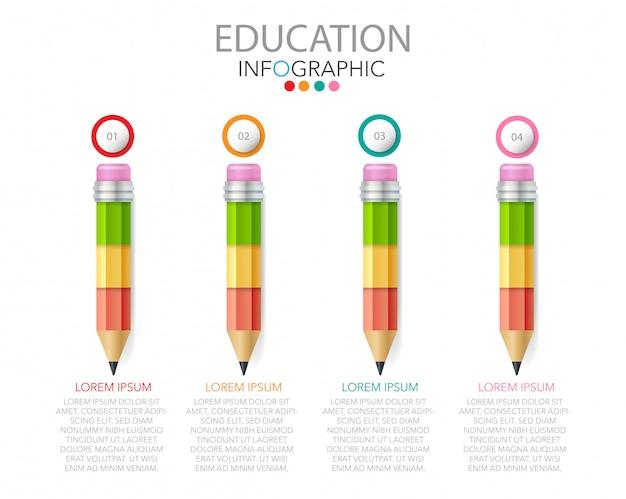 Vettore infographic di istruzione con i pezzi del puzzle a forma di matita