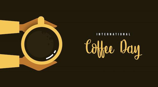 Vettore internazionale dell'illustrazione del fondo di giorno del caffè