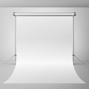 Vettore interno vuoto dello studio di fotografia 3d. illustrazione realistica dell'appartamento del fotografo.