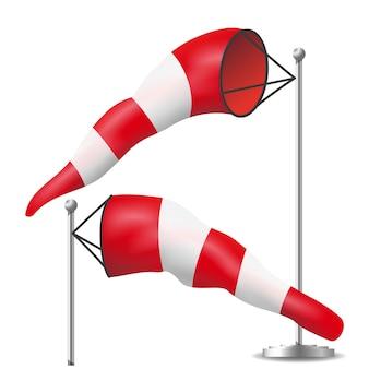Vettore isolato segno del windsock. illustrazione rossa e bianca di aeronautica di meteorologia