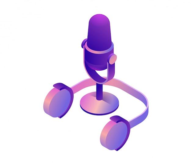 Vettore isometrico 3d del microfono