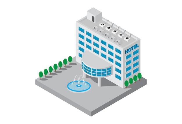 Vettore isometrico della costruzione dell'hotel delle stelle cinque