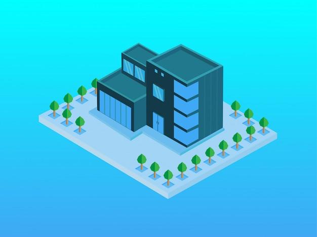 Vettore isometrico di costruzione di casa