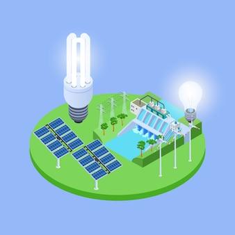 Vettore isometrico di energia ecologica con l'illustrazione dei pannelli solari