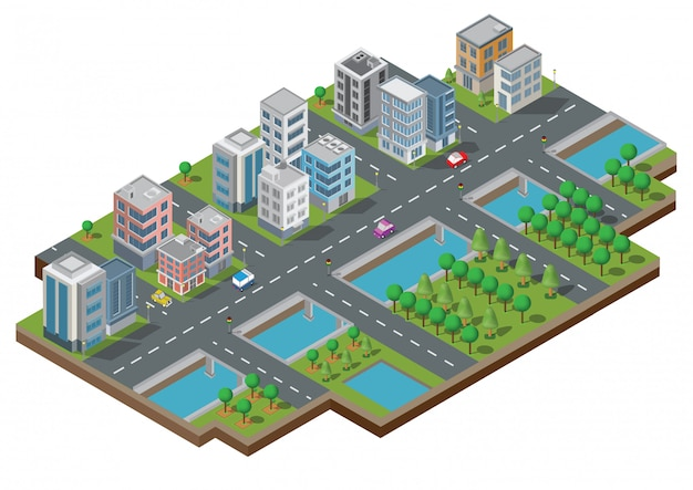 Vettore isometrico edificio della città. la città sull'iarda con strada e alberi. ponte sul fiume. città intelligente e parco pubblico. costruzione 3d, automobili, capitale, concetto di vettore ufficio e metropoli.