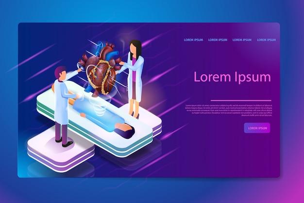Vettore isometrico futuro di tecnologie mediche