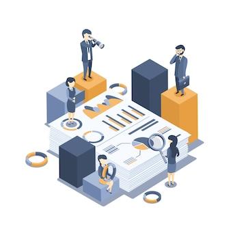 Vettore isometrico. il concetto di auditing aziendale. analisi delle statistiche, gestione, amministrazione.