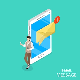 Vettore isometrico piano di notifica e-mail mobile.