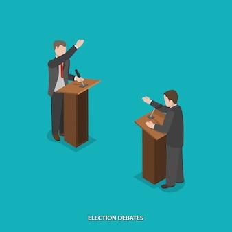 Vettore isometrico piatto di dibattiti elettorali.