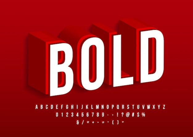 Vettore isometrico rosso di effetto del testo di alfabeto moderno audace 3d della fonte forte