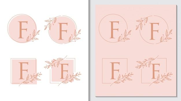 Vettore logo floreale semplice lettera rustica f