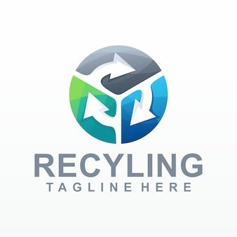 Vettore logo gradiente recyling