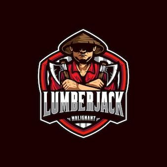 Vettore logo lumberjack