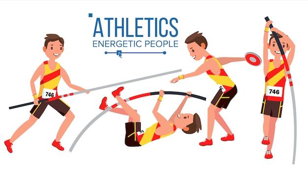 Vettore maschio del giocatore di atletismo. competizione sportiva atletica. attrezzatura sportiva. velocista. inizio sprint. personaggio dei cartoni animati piatto isolato