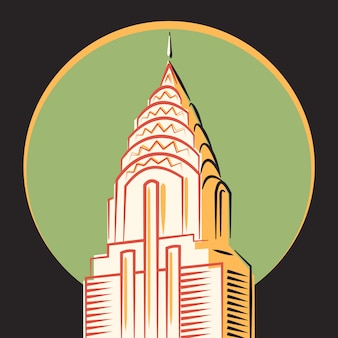 Vettore minimalista, the chrysler building, new york