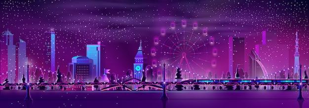 Vettore moderno del fumetto del paesaggio di notte della metropoli
