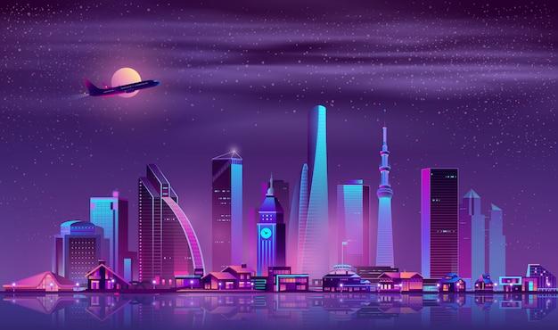 Vettore moderno del fumetto di paesaggio urbano di notte della metropoli