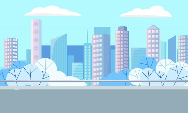 Vettore moderno delle costruzioni, del centro e di paesaggio urbano