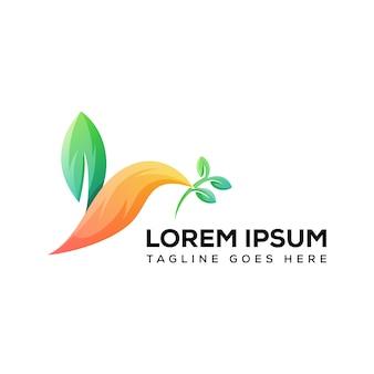 Vettore moderno di logo dell'uccello della foglia