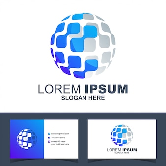 Vettore moderno variopinto di logo di tecnologia di tecnologia del cerchio