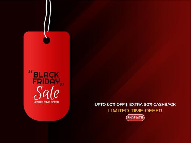 Vettore nero astratto del fondo di progettazione dell'etichetta di vendita di venerdì