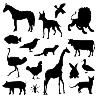 Vettore nero dell'icona delle siluette dello zoo della fauna selvatica dell'animale domestico dell'animale da allevamento