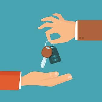 Vettore noleggio auto o concetto di vendita in stile piatto