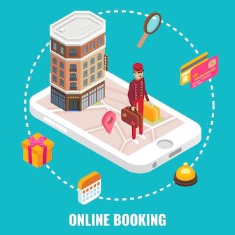 Vettore online di concetto di prenotazione di hotel. illustrazione isometrica piatta edificio dell'hotel e portiere con bagagli sullo schermo dello smartphone.