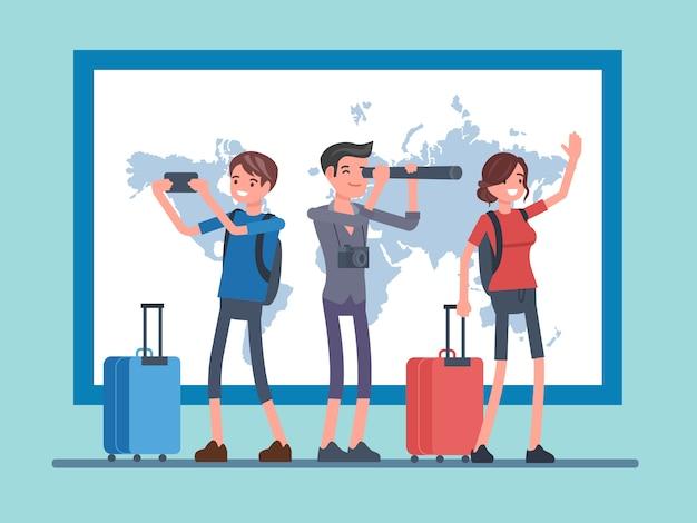 Vettore persone che viaggiano con sfondo di mappe