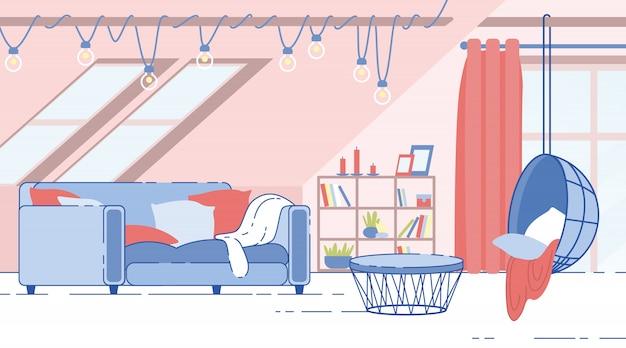 Vettore piano accogliente di interior design della stanza della soffitta della camera