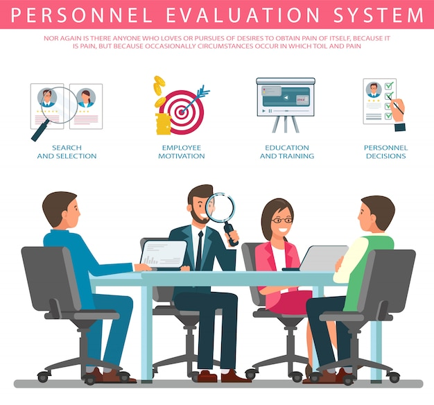 Vettore piano del sistema di valutazione del personale dell'insegna.