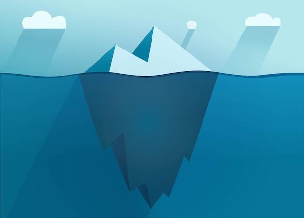 Vettore piano dell'iceberg che galleggia sul mare con l'illustrazione subacquea del fumetto della parte