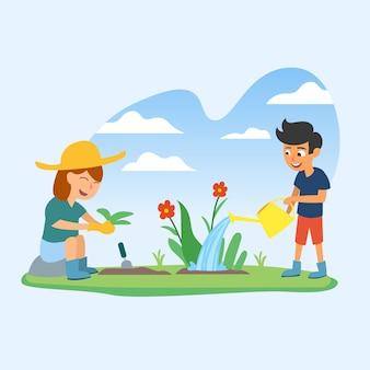 Vettore piano dell'illustrazione di giardinaggio