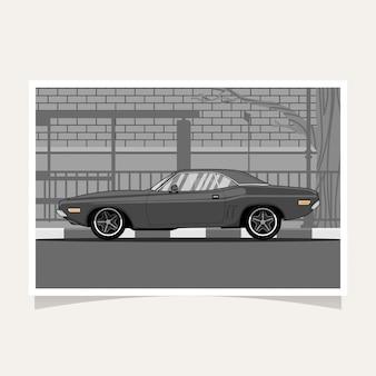 Vettore piano dell'illustrazione di progettazione concettuale dell'automobile classica