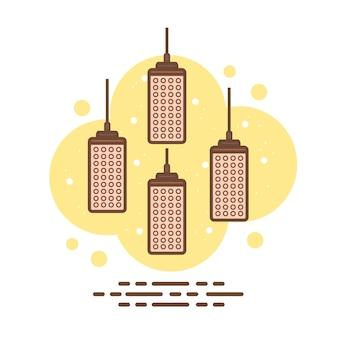 Vettore piano delle lampade del soffitto