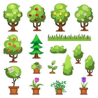 Vettore piano delle piante dei fiori del giardino della natura