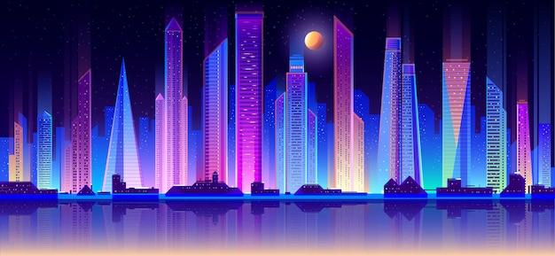 Vettore piano di paesaggio urbano moderno di notte della metropoli