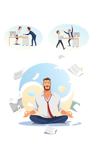 Vettore piano di practicing yoga del lavoro dell'uomo d'affari
