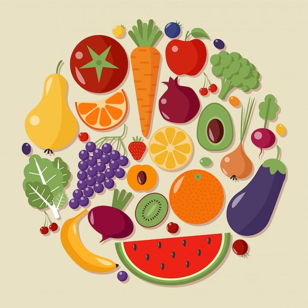Vettore piano di stile degli ortaggi sani di frutta degli alimenti