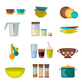 Vettore piano di utensili da cucina e utensili
