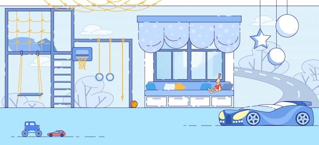 Vettore piano interno moderno di little boy bedroom