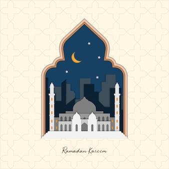 Vettore piano islamico di ramadan kareem illustration