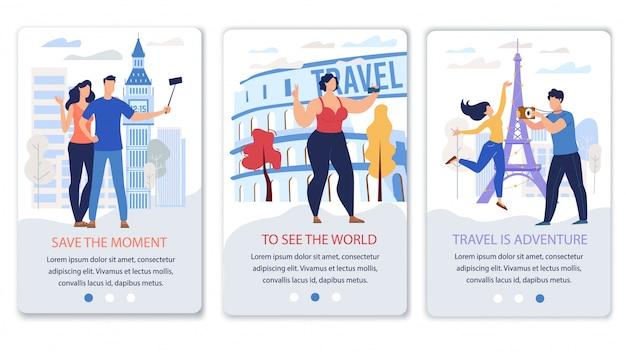 Vettore piatto di app di agenzia di viaggi