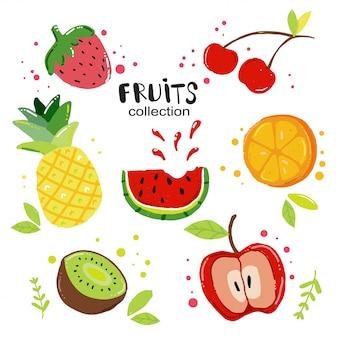Vettore piatto set di frutta estiva