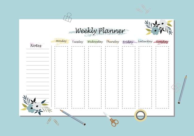 Vettore planner settimanale